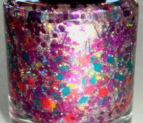Nail Polish - 'HIBISCUS' - Hand Blended Nail Lacquer - Spring Nail Polish - Holographic Glitter - 0.5 oz Full Sized Bottle