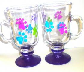 Irish Coffee Mug - Glass - Handpainted - Set of 2 - Pawprints - Puppy Paw Prints - Made to Order