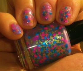 Neon Glitter Nail Polish - NEW - BLUEBERRY SMOOTHIE - Custom Blended Polish/Lacquer - 0.5 oz Full Sized Bottle